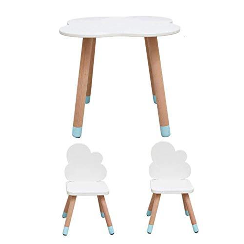 ZY Children's study table and chair Einfache Kinder Tisch und Stuhl Set, Massivholz Cartoon Stuhl zurück Kindergarten Schreibtisch, milchig weiß Kinderzimmer Möbel Set (1 Tisch 2 Stühle) - Zurück Massivholz