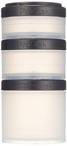 BlenderBottle ProStak Expansion Pak 3 Container (250ml, 150ml und 100ml) inklusive Pillenfach (Transp. Schwarz) - Portion Pak