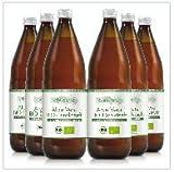 100% Aloe Vera Bio Direktsaft, 6x1.000 ml Flasche enthält 1200mg/Liter Aloverose, Aloe Barbadensis Miller, 100% Innenfilet, handfiletiert