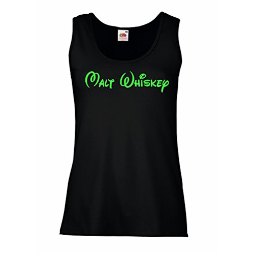 lepni.me Serbatoio,Maglietta senza maniche femminile Whisky di malto - citazioni di bere divertenti, parole di alcolici freddi Nero Verde