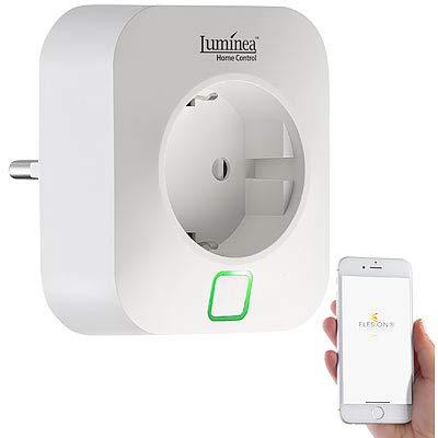 Luminea Home Control Energiekostenmessgerät: WLAN-Steckdose, App, komp. mit Amazon Alexa & Google Assistant, 16 A (Elesion Steckdose)