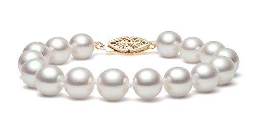 14K Or jaune perle de culture d'eau douce blanc bracelet de qualité AAA (7,5-8mm)
