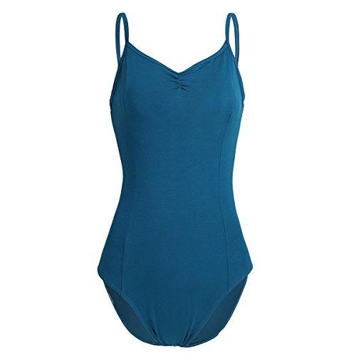 YiZYiF Damen Body Sportbody Fitness Ballett Trikot Ballettanzug Tanz-Body Gymnastik Leotard Tops mit Spaghettiträgern Blau-grün M (Trikot Top)