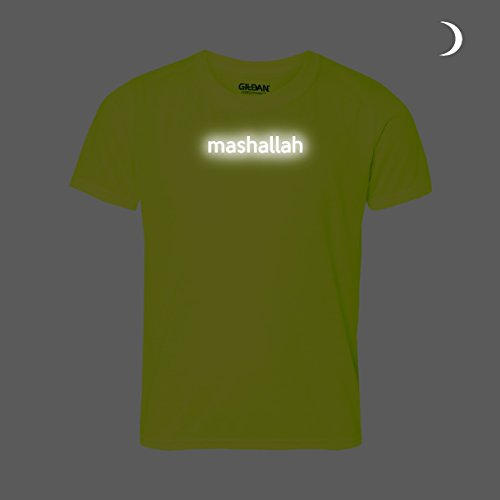 māšā 'allāh T-Shirt. Islamische Phrase Bedeutung Allah (Gott) Hat Es Antwort. Reflektierende Text auf hellen Gelb T-Shirt. NICE Geschenk Fasten Heiligen Monat Eid Ramadan. Unisex (Label Staaten Herren Signalgelb