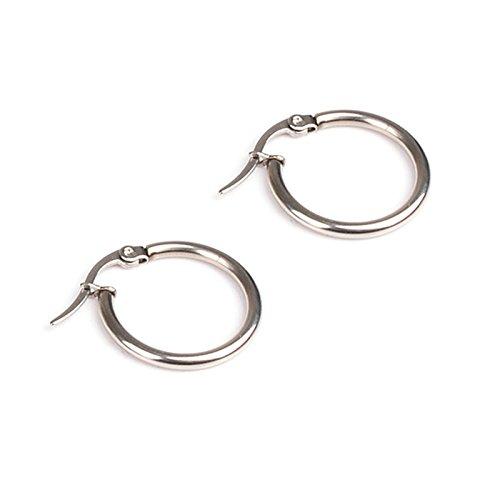 Bishilin gioielli acciaio inossidabile orecchini da donna uomo 20mm cerchio orecchini piercing argento