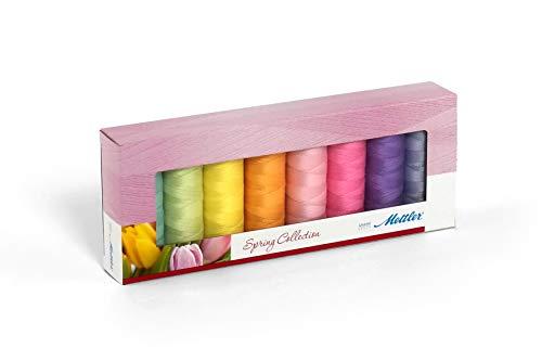 Mettler SERALON Spring-Kit 8er Nähgarnbox: Universalgarn Zum Nähen oder Sticken - 100{3e4676ce32281576a0f2d0eca27a862cc112f4486f027b277b9726d3342dd958} Polyester - 8 x 200 m, Pastellfarben