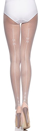 Merry style collant donna calze sposa ms 305 20 den (bianco, m (36-40))