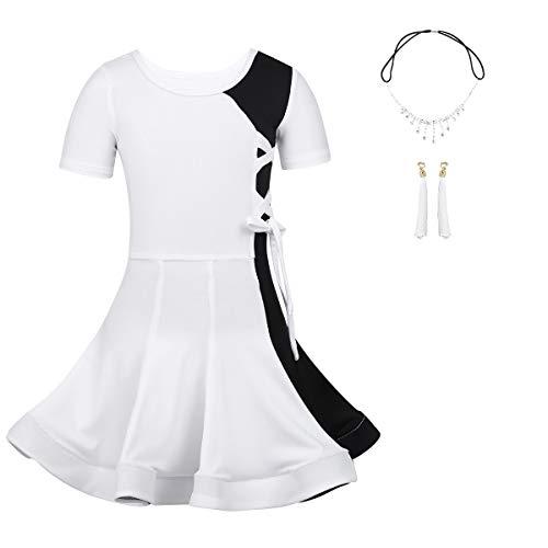Freebily Kinder Mädchen Latin Kleid Farbblock Kontrast Tanzkleid Elegant Rumba Samba Ballett Kleid Tanz Kostüm mit Kopfschmuck Ohrringe Party Dancewear Weiß 98-104/3-4 Jahre