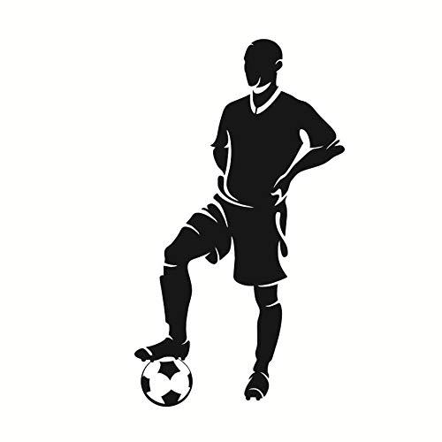 Spieler Stand Mit Fuß Auf Ball Wandaufkleber Fußball Wohnkultur Kinderzimmer Abnehmbare Vinyl Wandtattoo Selbstklebende Tapete 43X77cm