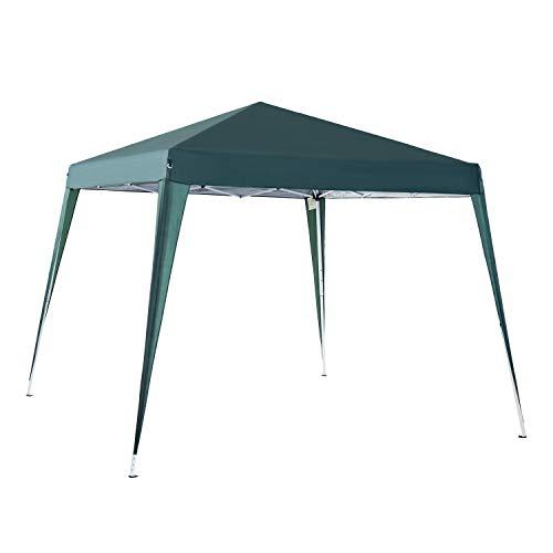 Outsunny Carpa Cenador Plegable para Exterior para Jardín Camping Fiesta Tienda Eventos – Color Verde Oscuro – Acero y Oxford - 3 x 3m