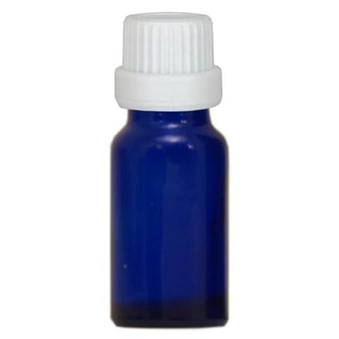 10x Apothekenfläschchen 10ml aus Blauglas mit weissem Schraubverschluss mit Globuligiessring für Globuligröße HAB 1-3