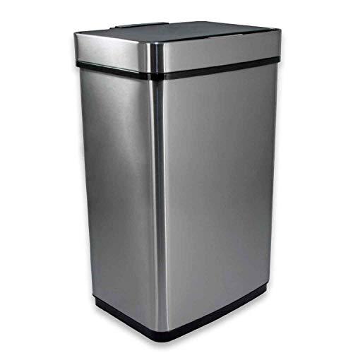 Cubo de basura T24 Premium con sensor de cocina, de acero inoxidable, 70 litros, con sensor de movimiento...