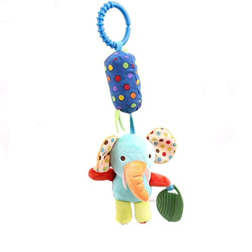 Rassel zum Aufhängen, Plüsch-Spielzeug für Kinderwagen, mit Glocke, Rassel zum Aufhängen, Spielzeug für Kleinkinder, Baby (blauer Elefant)