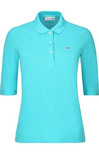 Lacoste PF5381 Klassisches Damen Polo, Polohemd, Polo-Shirt mit 3/4 Arm, Kurzarm, Regular Fit, für Freizeit und Sport, 100% Baumwolle Türkis (Atoll XA4), EU 48