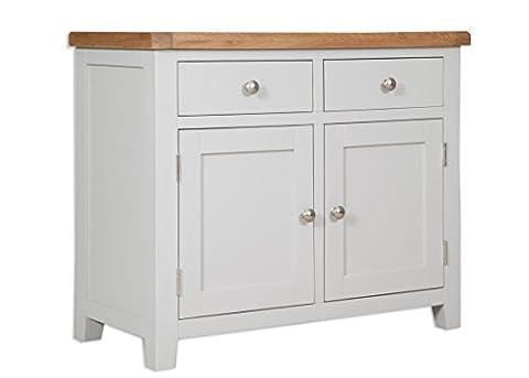 Classically Modern Dorset French Grey Painted Oak & Pine 2 Door Sideboard Cupboard Cabinet