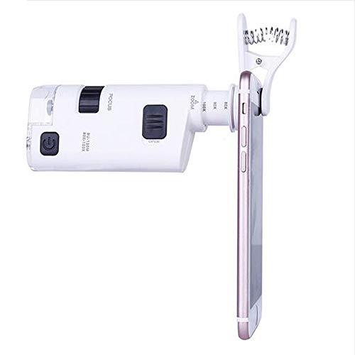 Universal Clip-Mikroskop, Mini Mikroskop,Taschenmikroskop,Handy Mikroskop, 80X-120X Zoom LED LichtTaschenmikroskop Juwelier Vergroesserungsglas Einstellbare Lupe Tasche für iPhone und Android Handy