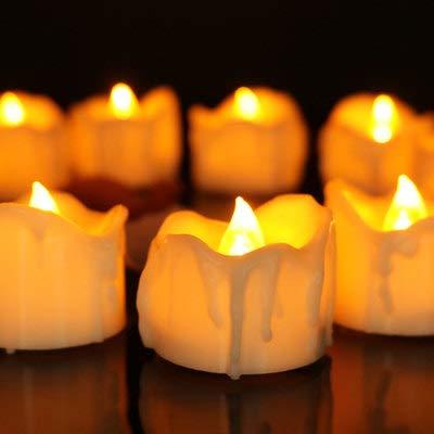 Sunjing Halloween LED-Kerzen Blut Bluten Kerzenlampe Batteriebetriebene Kerzen Für Weihnachten Geburtstag Zu Hause Abendessen Hochzeit Party Dekor 12 Stück,Yellow
