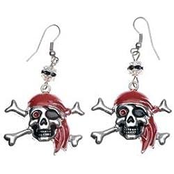 Pendientes con diseño de calavera pirata