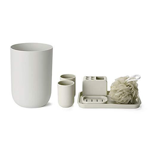RKY Badzubehör eingestellt Kreatives Bad-Waschset aus Polypropylen, Sieben-teiliges Set mit Mülleimer, Aufbewahrungsbox, Badekugel - 2 Farben optional / - / (Farbe : Khaki)