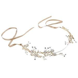 B Baosity Glänzende Haarkranz Haarband Stirnband Kopfschmuck Blume Haarschmuck Hochzeit Party Haar Accessoires