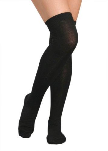 2 Paar Overknee Strümpfe mit klassichen Karos oder Uni, Baumwolle mit Elasthan, Spitze handgekettelt. Schwarz UNI, One Size