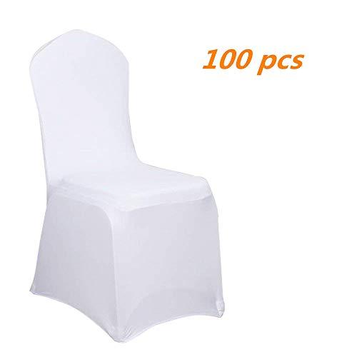 Aufun Stuhlhussen Stretch 100 stück Weiß Stretchhusse Universell Moderne Stuhl Husse Abdeckung im Lycra Stuhlbezug für Hochzeit Taufe Geburtstagsfeier Dekoration Feiern Haus
