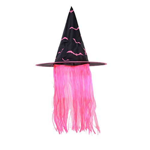BESTOYARD Hexenhut Halloween Kleid Perücke Hüte Make-up Accessoires für Cosplay Party Kostüme (Rosa)