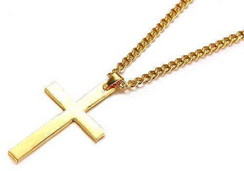 """Halukakah Hommes Titane Croix en acier Collier Pendentif Miroir Polished Fini Argent / Or / Gun Noir avec O Chain 24 """" Argent + Or + Pistolet Noir 3 Pcs Set"""