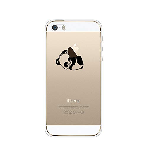 Karomenic Silikon Hülle kompatibel mit iPhone SE/5S/5 Kreative Cartoon Transparent Handyhülle Durchsichtig Schutzhülle Crystal Clear Weiche Soft TPU Tasche Bumper Case Etui,Panda#7 (E-mail-iphone 5 Fall)