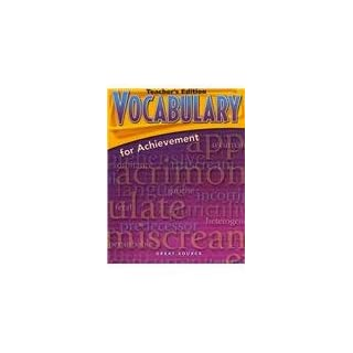 GRT SOURCE VOCABULARY FOR ACHI (Homeschool CD Companion 8-A)
