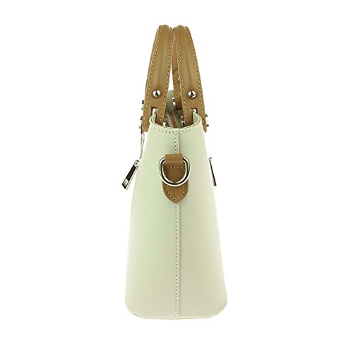 OBC Made in Italy Damen Tasche klein Shopper echt Leder Ledertasche Rindsleder Handtasche Schultertasche Freizeittasche Umhängetasche Bordo Beige-Cognac