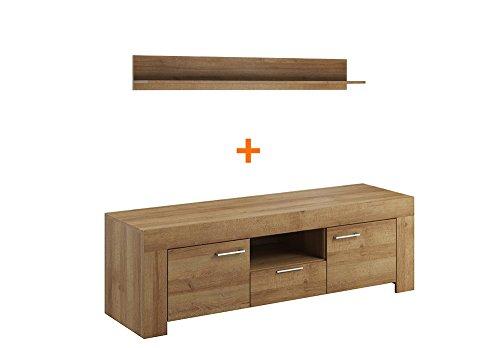 Wohnwand – Wohnzimmer Komplett Set in Holz Bild 2*