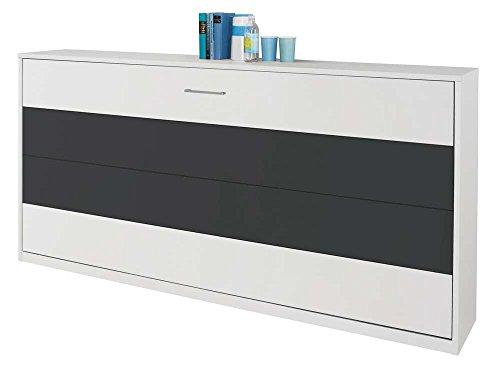 Schrankbett mit 90x200 Liegefläche in Weiß, Funktionsbett ist vertikal ausziehbar, Bett ist die perfekte Lösung für gesunden Schlaf in kleinen Räumen