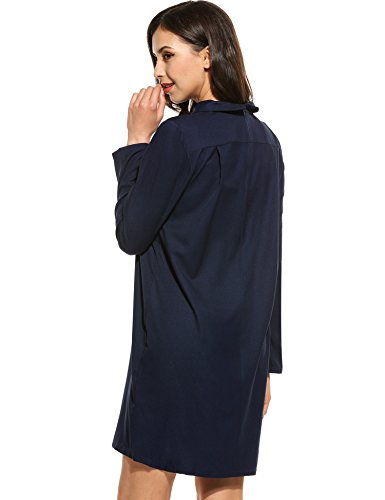 Meaneor Damen Blusenkleid Hemdkleid Langes Hemd Lang Ärmel Kleid Casual Volltonfarbe Shirt Abendkleid CocktailParty Urlaub Freizeit Dunkelblau