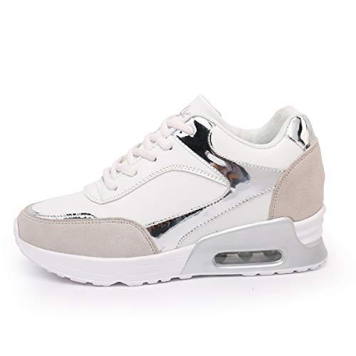 AONEGOLD® Donna Scarpe da Ginnastica Sportive Fitness Sneakers Zeppa Interna Tacco 6.5 cm Casual Platform(Bianco 1,37 EU)