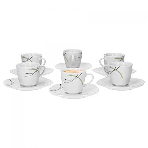 Lot de 6 tasses à expresso avec soucoupes 11 ml 12,3 cm-donna porcelaine blanche avec décor noir et ridules gris vert
