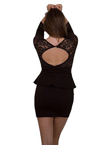 GIOVANI & RICCHI Damen Kleid Spitzenkleid One Size Einheits Groesse Mix Grün, Rot, Rosa, Schwarz, Navy, Blau, Braun, Beige Schwarz