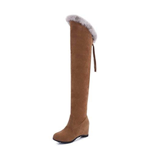 AgooLar Damen Rein Hoher Absatz Schließen Zehe Ziehen auf Stiefel mit Fransig, Knallblau, 35