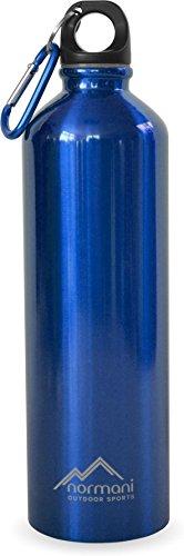 normani Edelstahl Trinkflasche 750 ml inkl Neoprentasche und Karabiner Farbe Blau