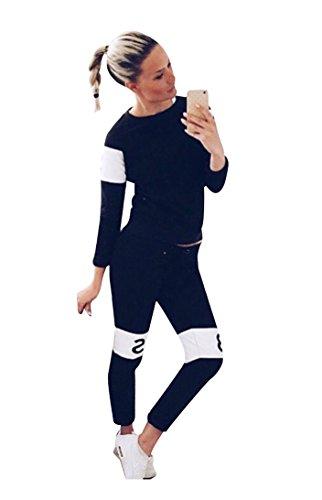 Baymate Donna Stampa Lettera Pullover Sweatshirt Felpa Pantaloni Sport 2 Pezzi Nero