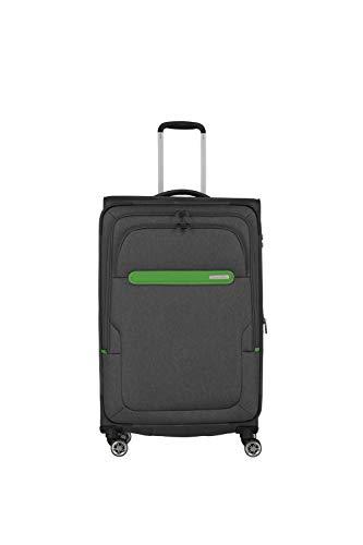 Travelite travelite: Madeira - sehr leichte Trolleys, Trolley-Taschen, Reise- und Bordtaschen plus Weekender Koffer, 77 cm, 86 Liter, Anthrazit/Grün