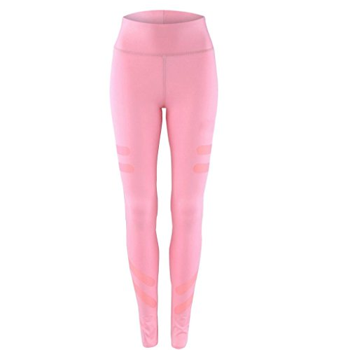 Pantalon de Yoga femmes,Jimma Femmes Yoga legging sport pantalons taille haute Running Fitness Gym pantalon Stretch Rose