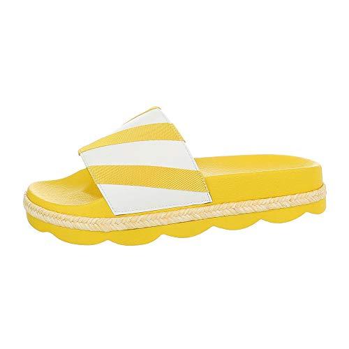 Ital-Design Damenschuhe Sandalen & Sandaletten Pantoletten Synthetik Gelb Weiß Gr. 39 (Weiße Und Hochzeit Gelbe)