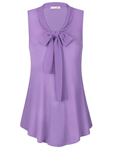 Messic Sommer Blusen für Damen, Frauen Ärmelloses Charmant Krawatte Swing Büro Tops Shirt mit Jeans(XX-Large,Violett)