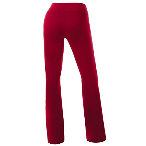 Smile YKK Pantalon de Sport Femme Pantalons Longues Yoga Gym Jogging Sport Casual Confortable Bordeaux