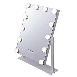 NYSCJJJ Großes Hollywood Makeup Rasierspiegel – Frameless Make-up Spiegel Tabletops beleuchteter Spiegel – LED beleuchtete Kosmetikspiegel mit LED-Lampen dimmbar (Color : Black, Size : 9 Bulbs)