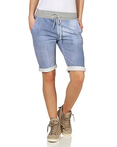 Karierte Damen-shorts (ZARMEXX Damen Shorts Capri Bermuda Boyfriend Sommerhose Sport All-Over Print One Size (34-38) Muster 1)
