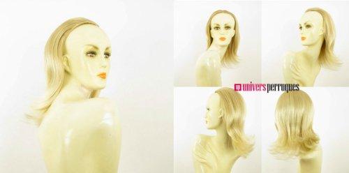 Demi-tête, demi-perruque mi-longue lisse 40 cm blond doré méché blond très clair ref 018 en 24bt613