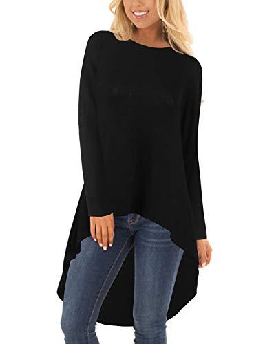 Blooming Jelly Damen Oversize Pullover O Hals Langarm Top Asymmetrische High Low Hem Knit Sweatshirt (Schwarz, M=EU 40)