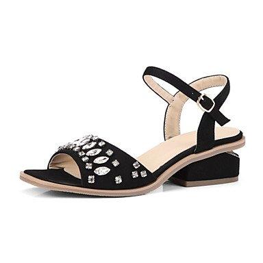 Donna Sandali Primavera Estate scarpe Club Comfort Novità fiore ragazza vello scarpe matrimonio abito outdoor casual Tacco a cuneo strass Black
